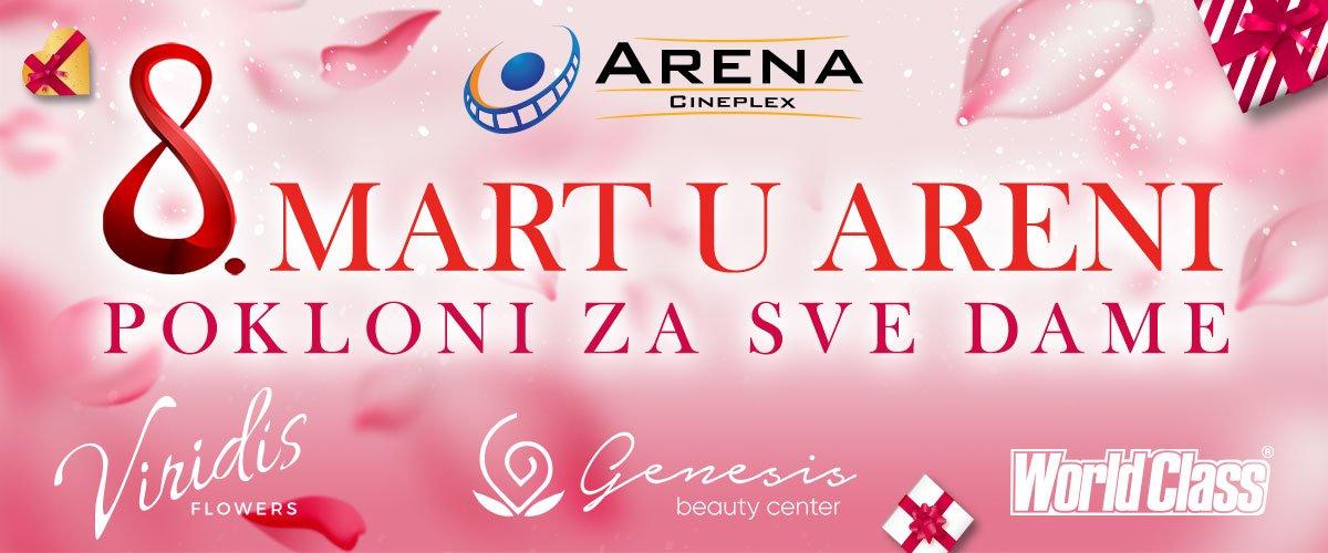 U petak, 8. marta svaka dama u Areni Cineplex dobiće cvet i pregršt poklona od cvećare Viridis, teretane World Class i beauty centra Genesis