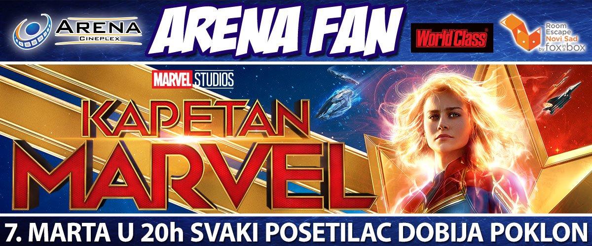 Arena Fan, specijalno veče za ljubitelje Marvel univerzuma, donosi mnoštvo poklona i premijeru filma Kapetan Marvel 7. marta u 20 časova