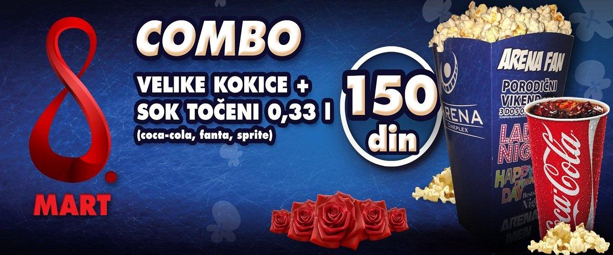 Arena Cineplex napravila je posebnu ponudu za 8. mart! Kombo koji podrazumeva velike kokice i točeni sok od 0,33 L biće u prodaji po ceni od 150 dinara!