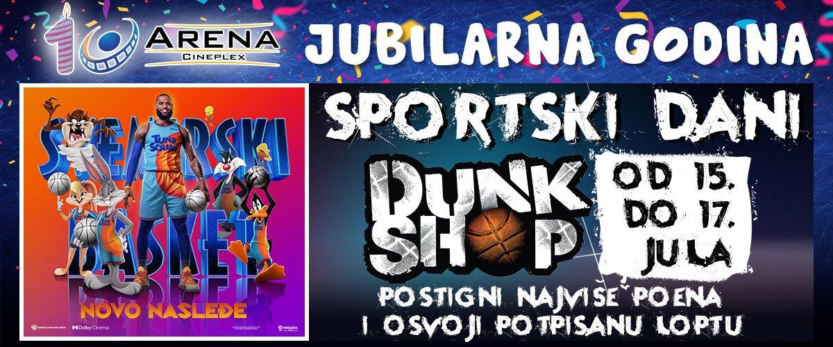 Povodom filma Svemirski basket: Novo nasleđe, šutiraj i osvoji potpisanu loptu naših proslavljenih šampiona pod košem svakog dana od 15. do 17.07. od 17h do 18h