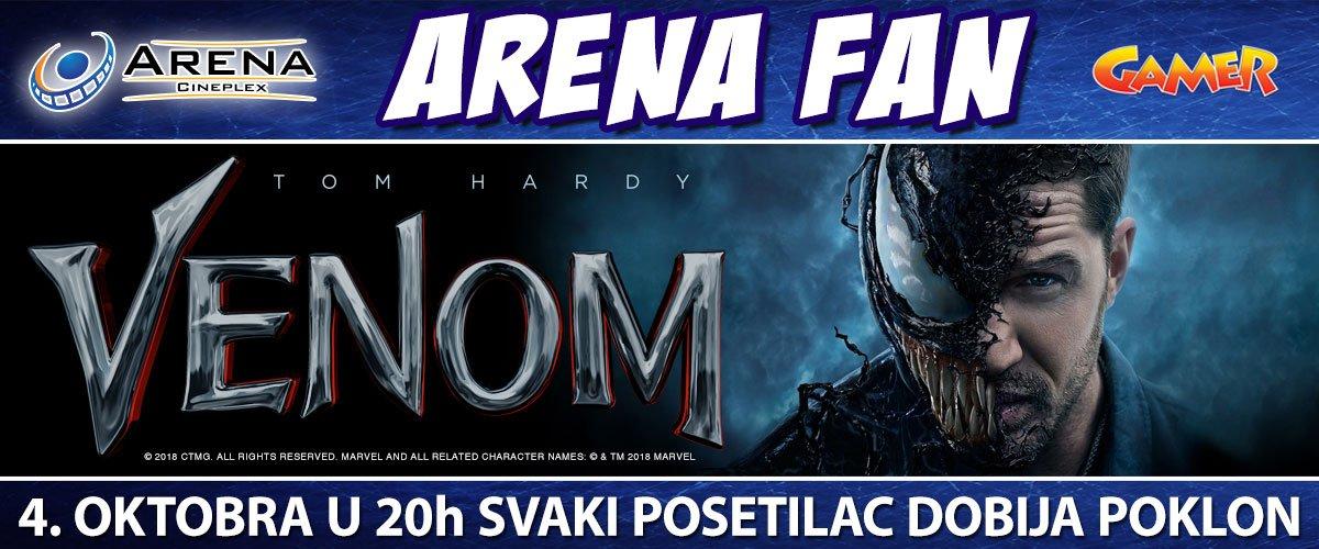 4.10. saznajte odgovor na pitanje da li je Venom najneobičniji junak ili antijunak u Areni Cineplex! Arena Fan - svaki posetilac dobija poklon!